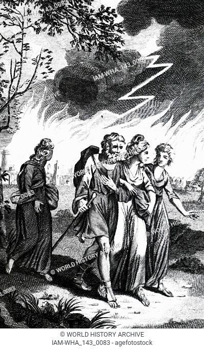 An engraving depicting Lot fleeing from Sodom and Gomorrah when an earthquake circa BC 1900 destroyed them. In the background is Lot's wife turned to a pillar...