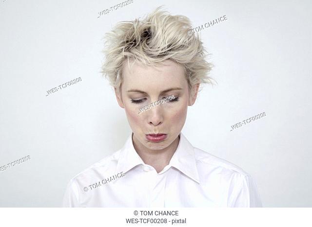 Annoyed woman, portrait