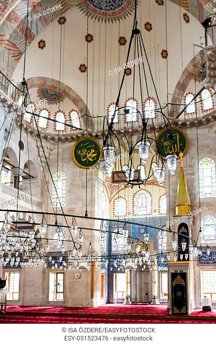 Interior view of Kilic Ali Pasha Mosque that is part of Ali Pasha Complex, built between 1580 and 1587 by Mimar Sinan in Beyoglu, Istanbul, Turkey