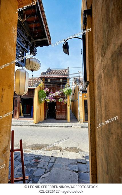 Narrow streets in Hoi An Ancient Town. Quang Nam Province, Vietnam
