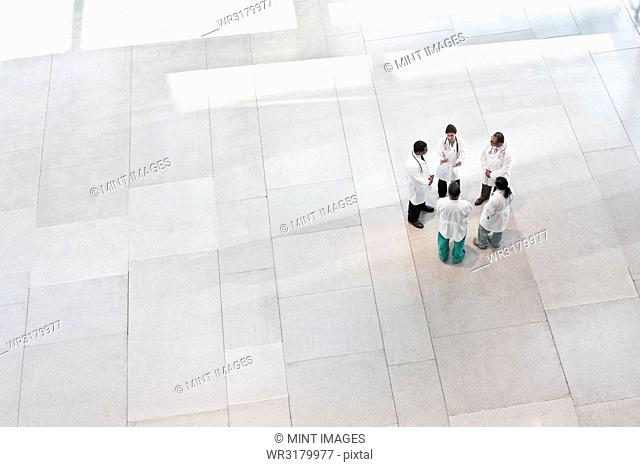 Mixed race group of doctors meeting in lobby of large hospital