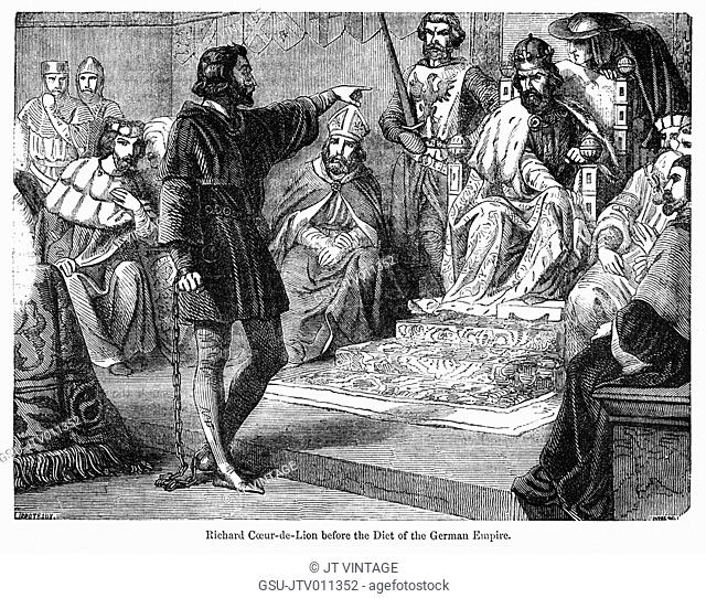Richard Coeur de Lion before the Diet of the German Empire, Illustration from John Cassell's Illustrated History of England, Vol