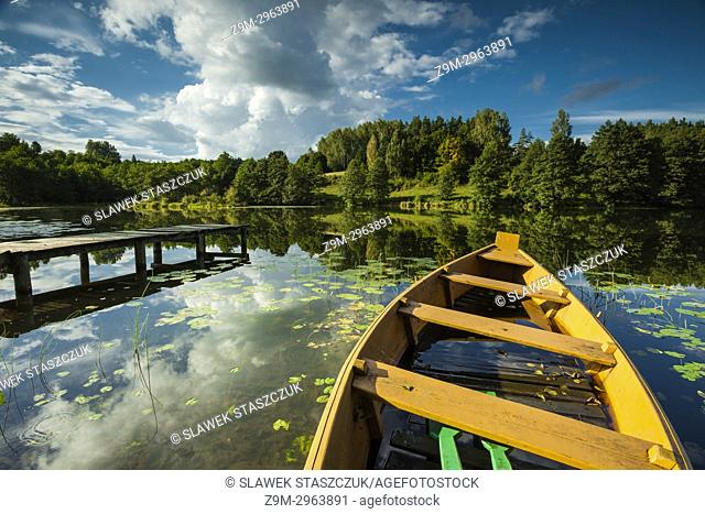 Autumn afternoon at a small lake in Suwalki Landscape Park, Poland