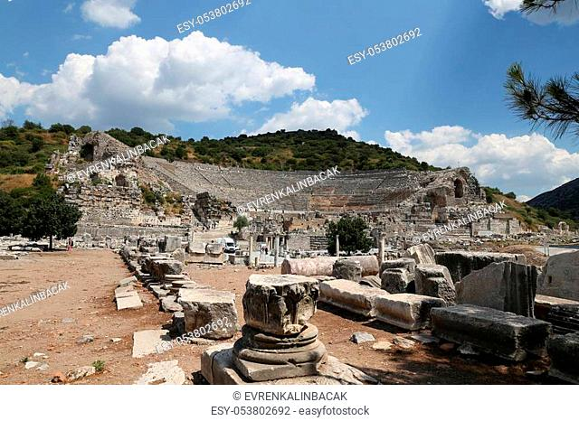 Grand Theater of Ephesus Ancient City in Izmir, Turkey