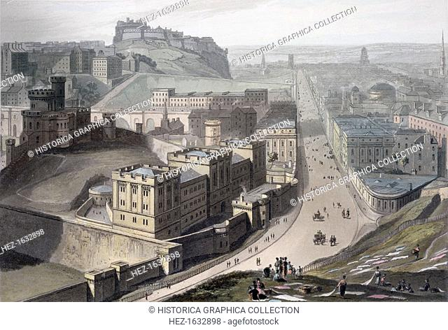 Edinburgh, from Calton Hill, 1829. Looking along Princes Street with Edinburgh Castle in the distance. From A Voyage Around Great Britain Undertaken between the...