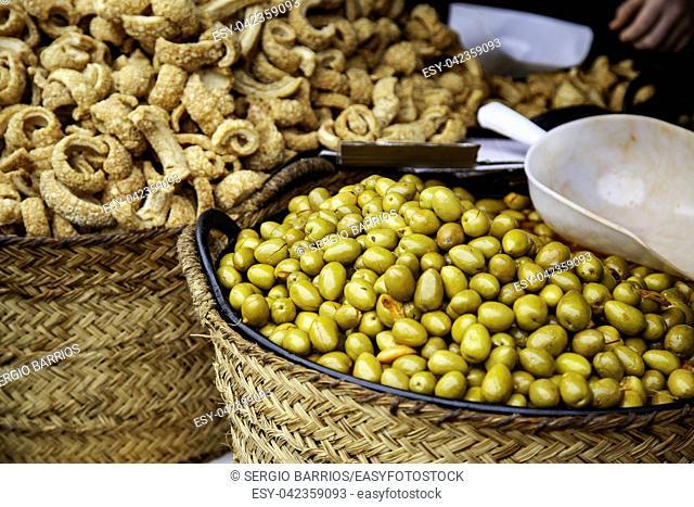 Olives in a market, detail of prepared food, appetizer