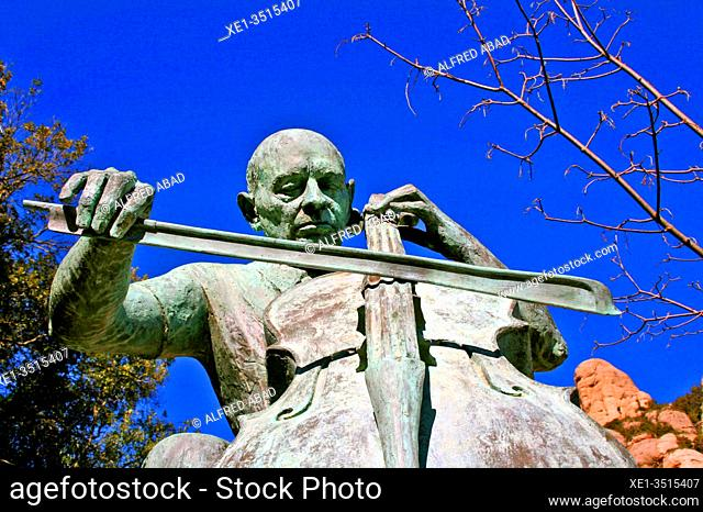 sculpture of Pau Casals, Benedictine monastery of Santa María de Montserrat, Catalonia, Spain