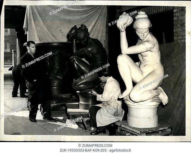 Mar. 03, 1953 - Ornamental Fountain For sloane Square the Artist Locks On: Work is progressing at the Morris Singer Foundry, Dorset Road
