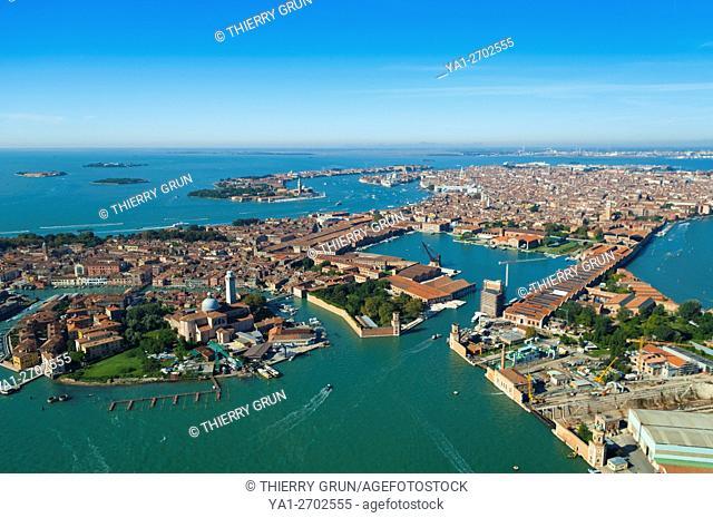 Italy, Venice city, Castello, Arsenale port and San Pietro di Castello island (aerial view)