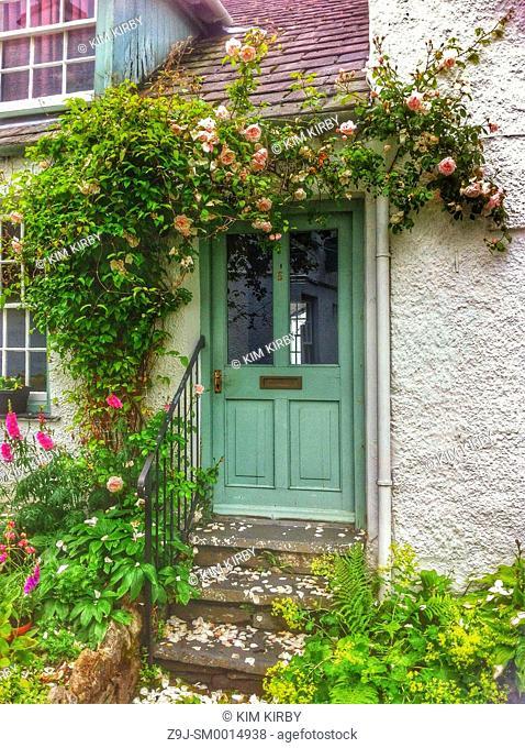 Cottage door Ambleside Cumbria England UK United Kingdom GB Great Britain