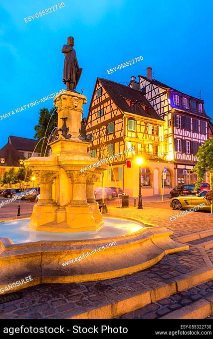 Colmar, Petit Venice, at dusk traditional colorful houses. Alsace, France