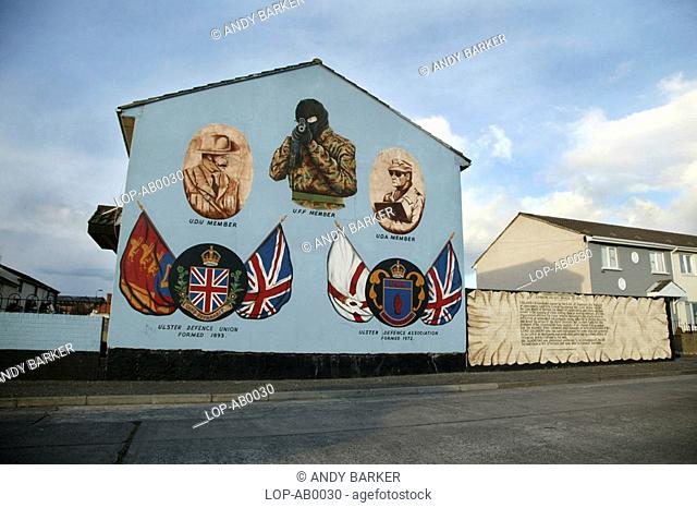Northern Ireland, Belfast, Boundary Street, Political murals from the Ulster defence union in Boundary street