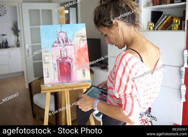 Painting a picture at home