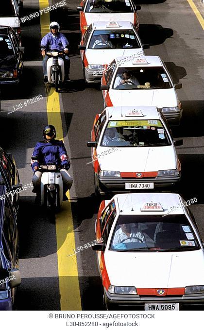 Traffic jam in downtown Kuala Lumpur, Malaysia