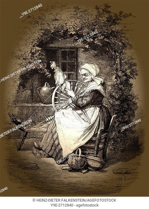 Spinning women, 19th century