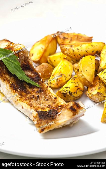 baked salmon with thyme potatoes