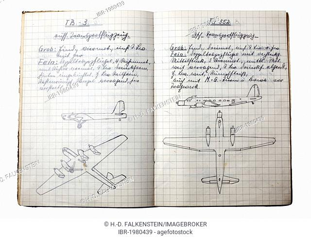 A booklet with handwritten text and drawings for aircraft detection, description of war planes from World War II, Germany, circa 1942