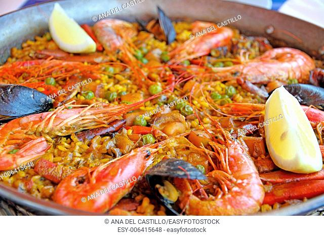 Seafood paella on pan Formentera Balearic islands Spain