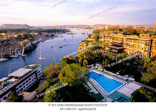 Elevated view of Old Cataract Hotel. Aswan. Nubia. Egypt