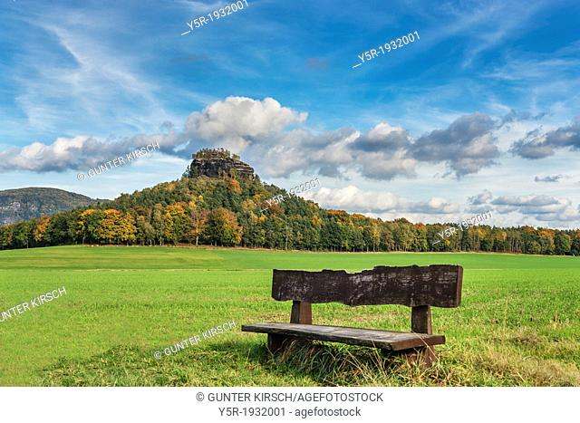 View to the Zirkelstein rock. The Zirkelstein is the smallest table mountain in the national park Saxon Switzerland. It is a wooded