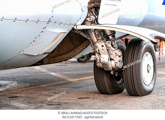 Kahmandu, Nepal - October 5 2019: Tyre of a small plane
