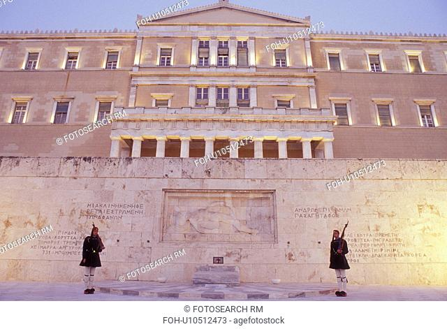 Athens, Greece, Parliament, Europe, Guards of Honor (evzones) standing at the Tomb of the Unknown Soldier at the House of the Greek Parliament at Plateia...
