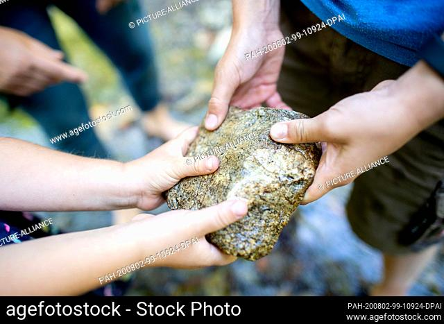 30 July 2020, Lower Saxony, Bad Harzburg: Wenke and Jannis are looking at a stone from the riverbed of the Kaltalbach during a course on forest bathing