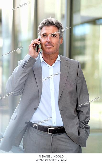 Mature businessman on the phone in the city