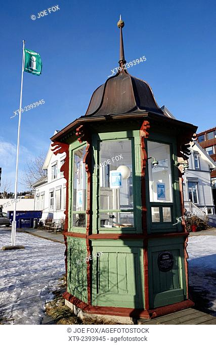 dalsbo kiosk in front of visit Tromso tourist information centre troms Norway europe
