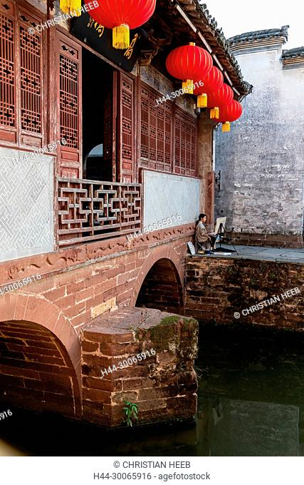 Asia, China, Chinese, Anhui Province, Mount Huangshan, Huangshan City, Tangmo Ancient Village, River town