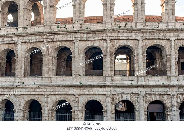 Rome, Italy: Part of famous Colosseum, Flavian Amphitheatre, in the sunrise