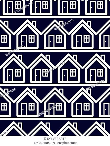 Simple houses continuous vector background. Property developer conceptual elements, real estate theme. Building modeling and engineering projects idea seamless...