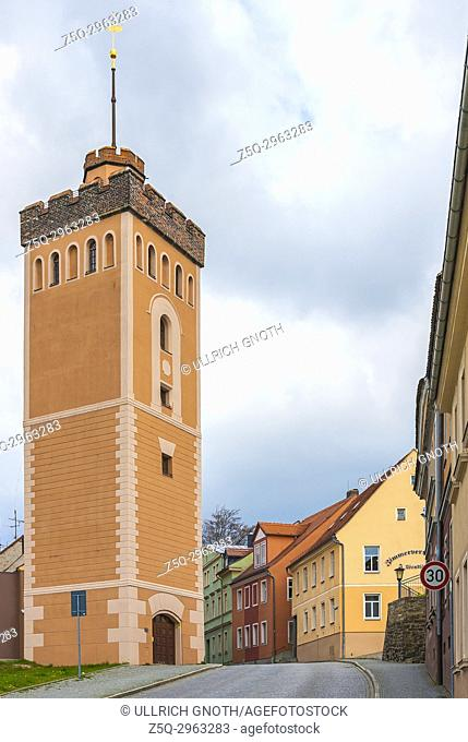 The Roter Turm (Red Tower), a remnant of the historical medieval town wall of Kamenz, Saxony, Germany