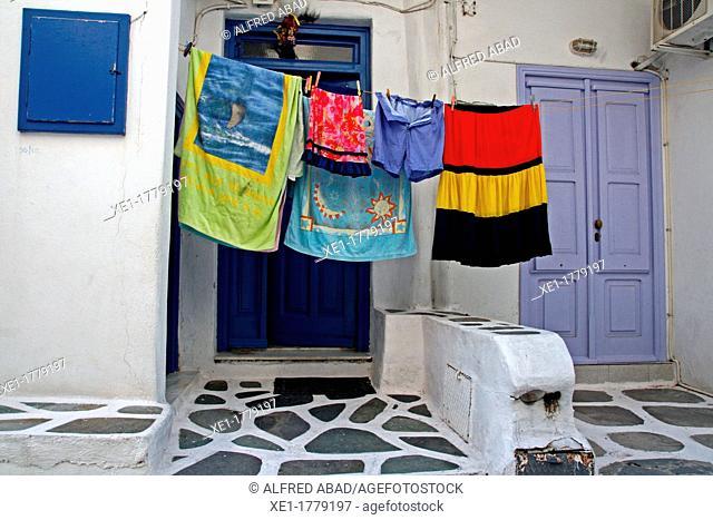 clothes hanging, Chora, Mykonos, Greece