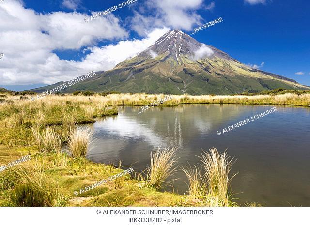 Mountain lake with the Mount Taranaki volcano, Pouakai Range, Egmont National Park, Taranaki Region, New Zealand