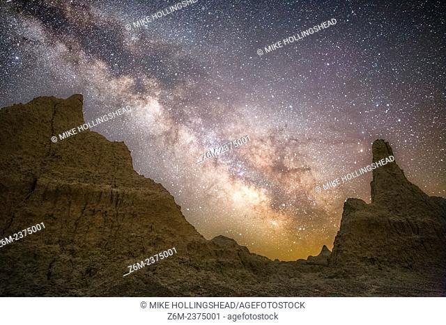 Milky Way rises over the Badlands of South Dakota