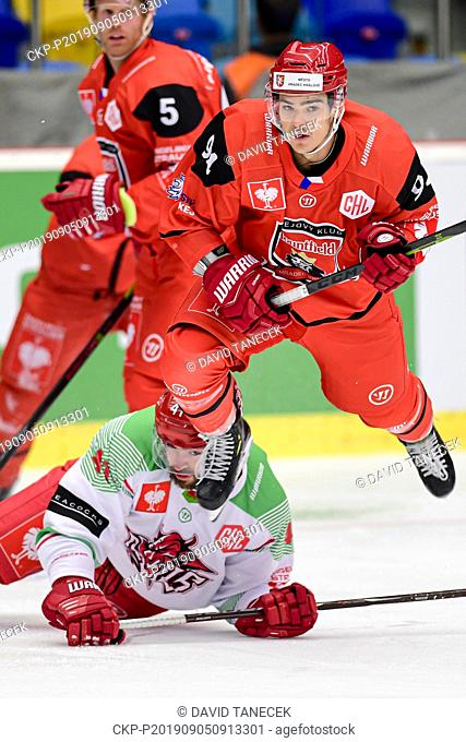 From left hockey players PHILIP BO SAMUELSSON of Hradec Kralove, JOSH BATCH of Cardiff and JORDANN PERRET of Hradec Kralove in action during the Champions...