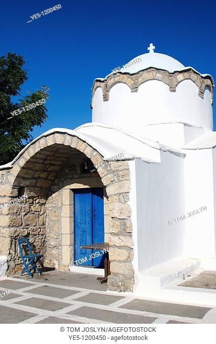 Traditional Greek chapel in Lothiarika , near Lardos , Rhodes , Dodecanese Islands , Greece