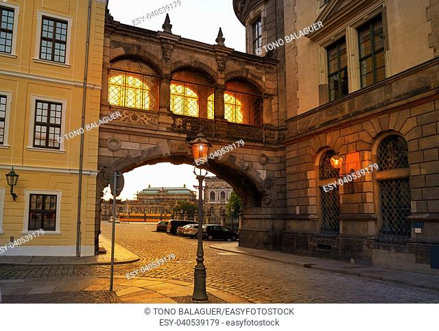 Dresden sunset arch at Taschenberg street in Germany Saxony