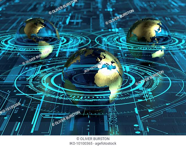 Globes connected in cyberspace