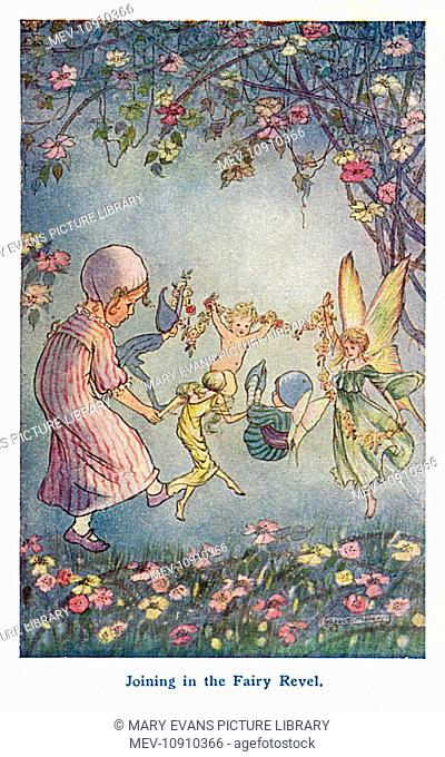 Joining in the Fairy Revel -- a little girl in her pink nightdress joins hands in a circle with a group of fairies and elves in a garden