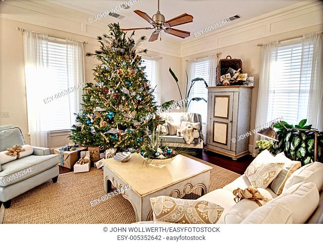 elegant livingroom decorated for christmas. Photo taken at upscale home in Beaufort, South Carolina, USA