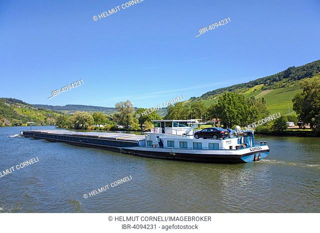 Cargo ship on the Moselle, near Traben-Trarbach, Rhineland-Palatinate, Germany