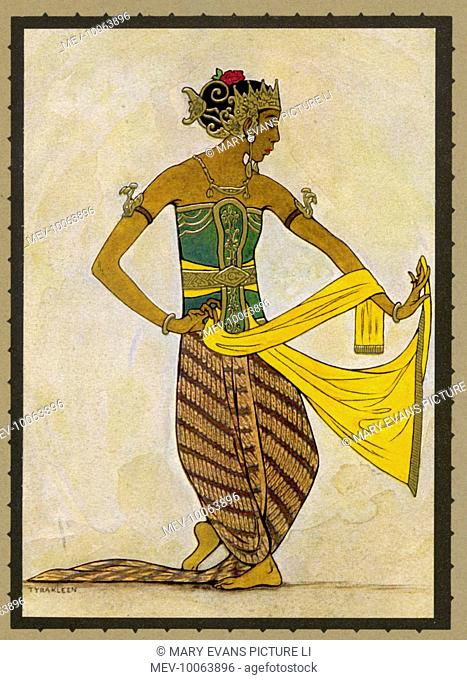 A Javanese dancer in a sculpturesque pose which shows the relation of this style with ancient Hindu reliefs.  The scarf is used to accentuate the movement