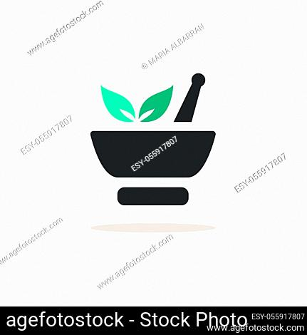 Mortar with plants. Icon with shadow on a beige background. Pharmacy flat vector illustration