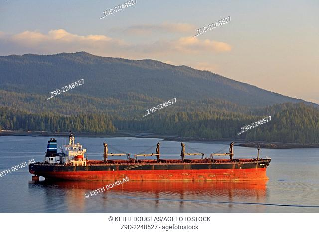 Bulk carrier freighter anchored in harbour, Prince Rupert, British Columbia