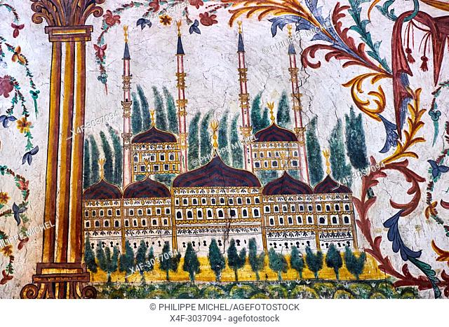 Albania, Tirana, Skanderbeg square, Etehem Bey mosque, wall painting