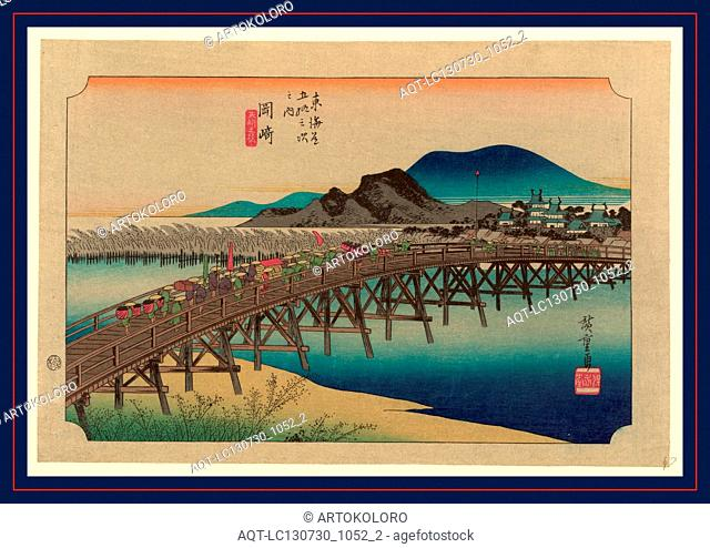 Okazaki, Ando, Hiroshige, 1797-1858, artist, [between 1833 and 1836, printed later], 1 print : woodcut, color., Print shows porters and retainers carrying...