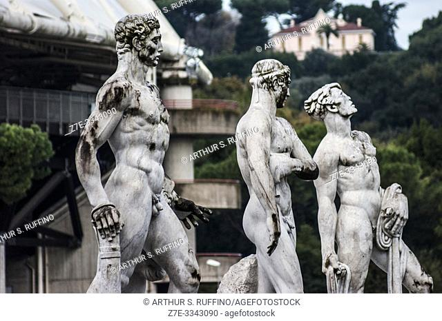 Marble statues of athletes in the Stadio dei Marmi (Stadium of the Marbles). Foro Italico (sports complex), Rome, Italy, Europe