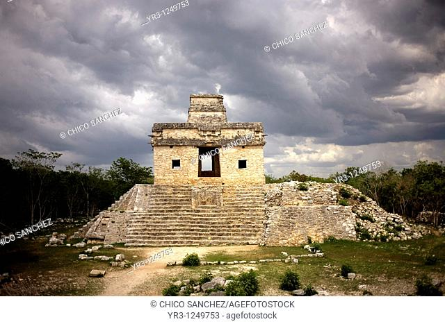 Temple of the Dolls in the Mayan ruins of Dzibilchaltun on Mexico's Yucatan peninsula